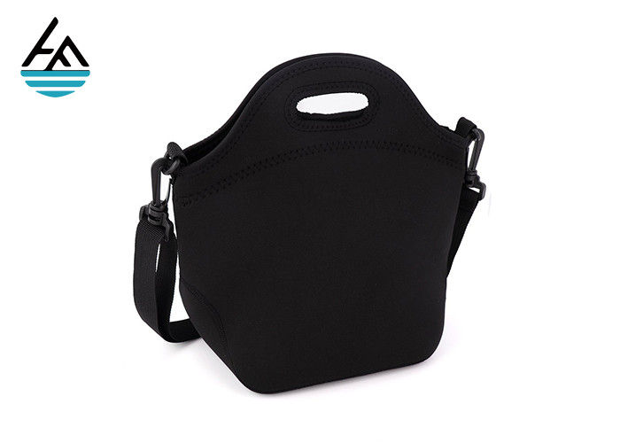 Black 4 Mm Boys Neoprene Lunch Bag With Shoulder Strap Neoprene Cooler Bag